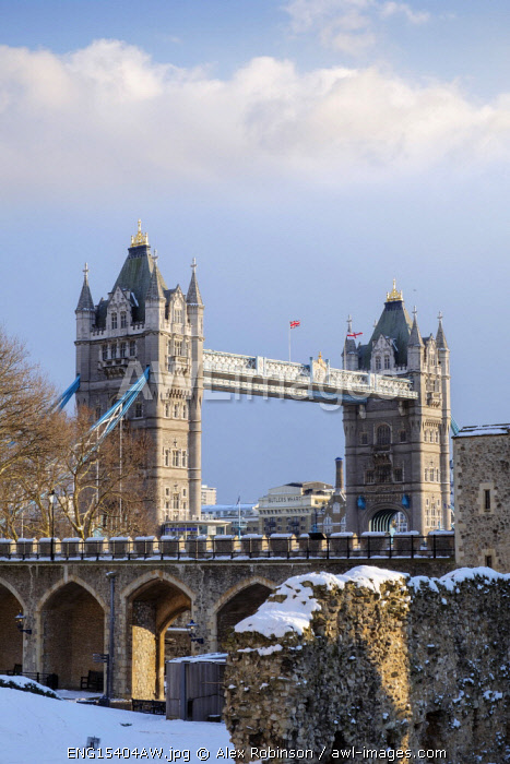 United Kingdom, England, London, view of the Tower Bridge in snow from the Tower of London Unesco World Heritage Site