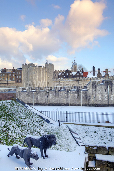 United Kingdom, England, London, view of the Tower of London Unesco World Heritage Site in the snow showing animal statues by Kendra Haste