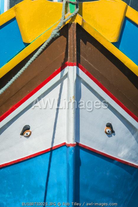 Malta, Marsaxlokk, Traditional Fishing Boat Detail