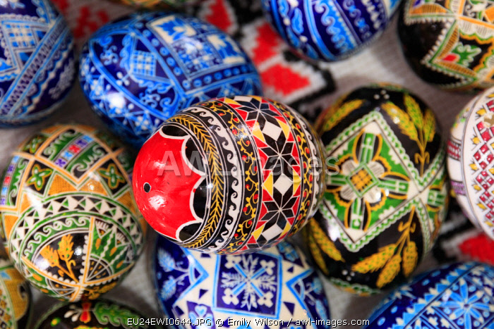 Romania. Bukovina, Moldovita, Renowned for painted eggs decorative for Easter holidays.