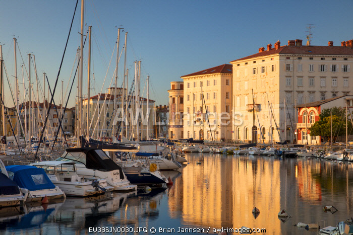 Evening sunlight on Marina and buildings and old town, Piran, Primorska, Slovenia