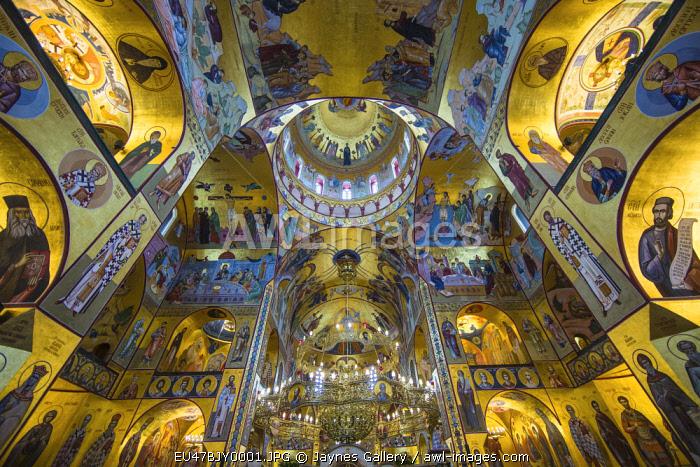 Montenegro, Podgorica. Interior of Serbian Orthodox Church.