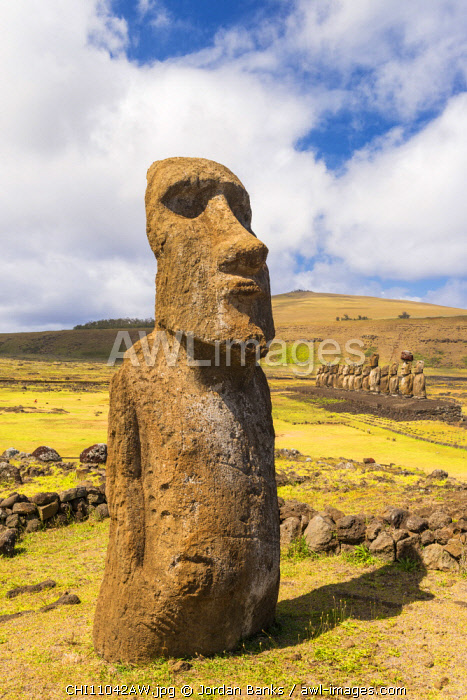 Moai at Tongariki, Easter Island. Polynesia, Chile