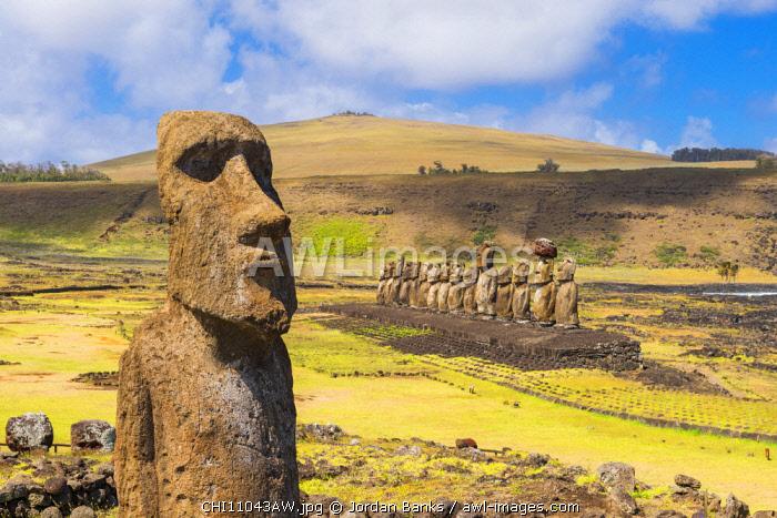 Moai at Tongariki, Easter Island. Polynesia, Chile