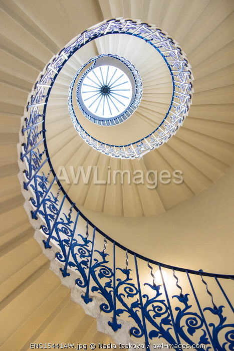 A spiral staircase in the Queen's House, Greenwich, London, England