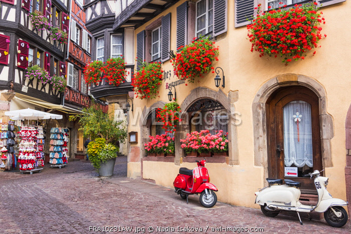 Half-timbered houses in the old town of Colmar, Alsatian Wine Route, France