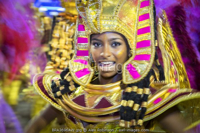 Brazil, Rio de Janeiro, Carnival 2018, samba school parading in the Sambadrome stadium