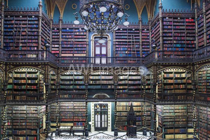 Brazil, Rio de Janeiro, interior of the Real Gabinete Portuguese library in the city centre