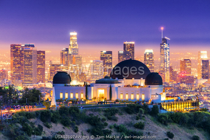 Griffith Observatory & Los Angeles Skyline at Night, California, USA