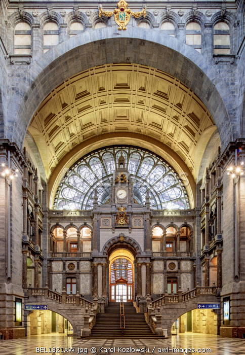 Central Railway Station, entrance hall, Antwerp, Belgium
