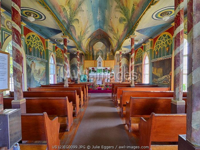 USA, Hawaii, Big Island. Interior of Saint Benedict's Painted Church.