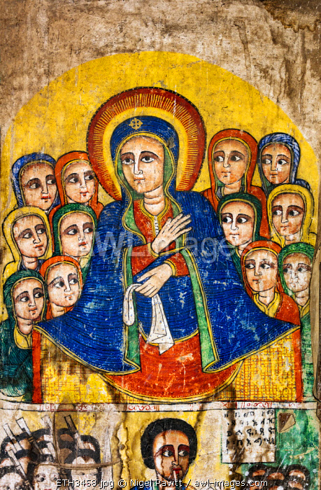 Ethiopia, Amhara Region, Ankober.  A mural of Saint Mary which once adorned the 19th century church of Ankober Medhane Alem which was destroyed in World War II.