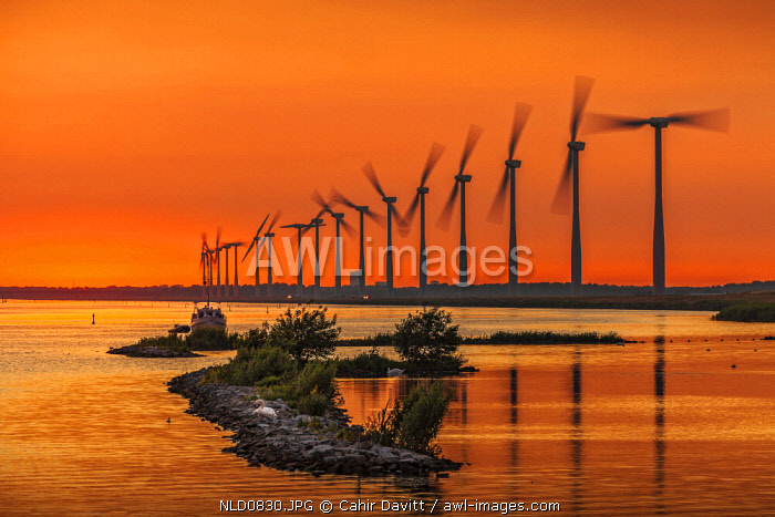 Eemhof windmills at sunset, Eemhof, Zeewolde, Flevoland, Netherlands