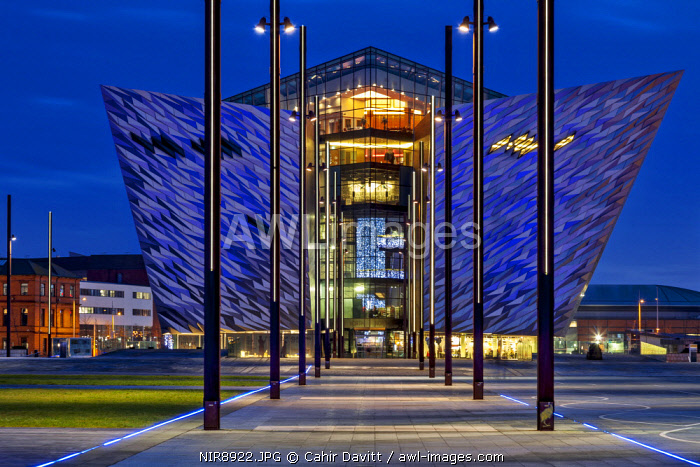 Rear view of the  Titanic Maritime Museum designed by the architects Eric Kuhne and Associates and the remains of the dry docks, where the Titanic and Olympic Liners were built at twilight, Titanic Quarter, Belfast, Co. Antrim, Northern Ireland, United Kingdom
