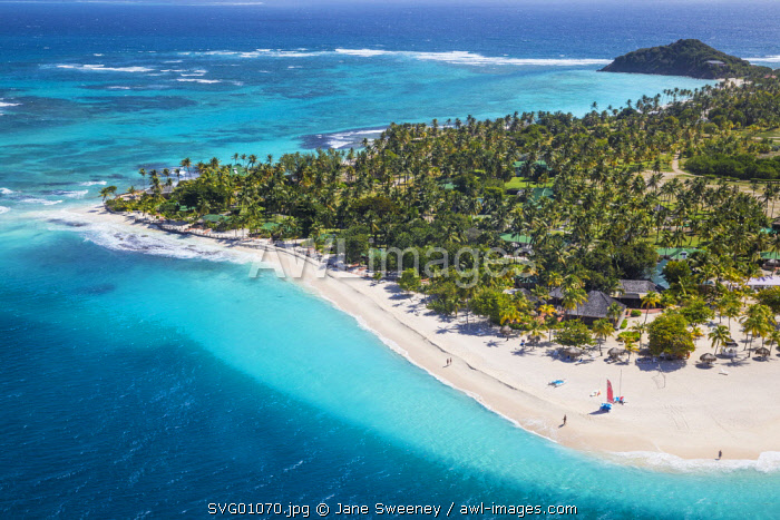 St Vincent and The Grenadines, View of  Palm Island resort, Palm Island