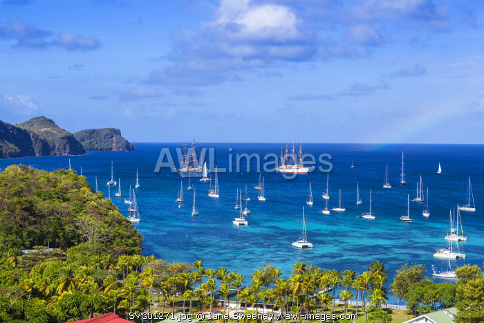 St Vincent and The Grenadines, Bequia, View of Sea Cloud 1 and 11 cruise ships in Admiralty Bay