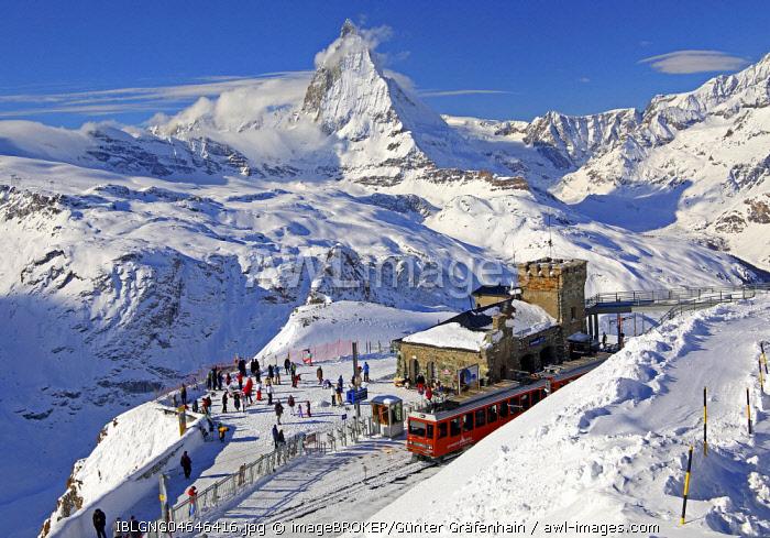 Mountain station of the Gornergratbahn on Gornergrat 3089m in winter, behind Matterhorn 4478m, Zermatt, Mattertal, Valais, Switzerland, Europe
