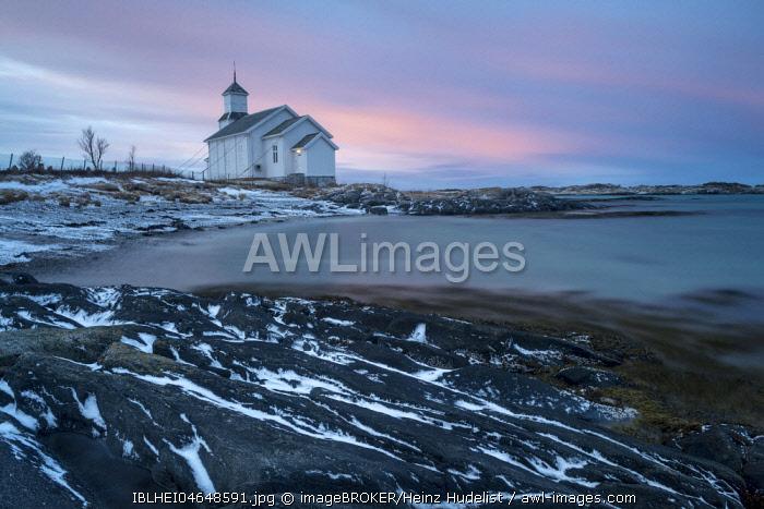Church on the coast at dusk, Gimsoy, Lofoten, Norway, Europe