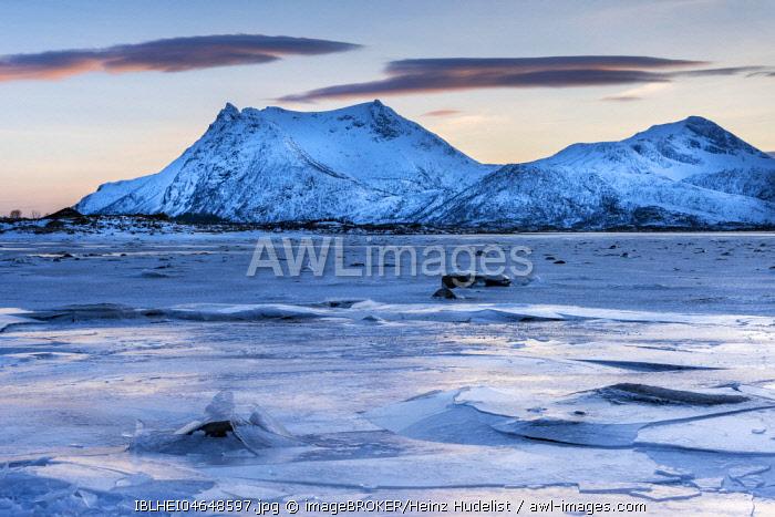 Icy coast on dusk, Gimsoy, Lofoten, Norway, Europe