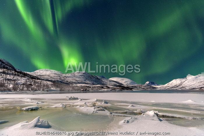 Ice landscape with northern lights, Botnhamn, Senja, Norway, Europe