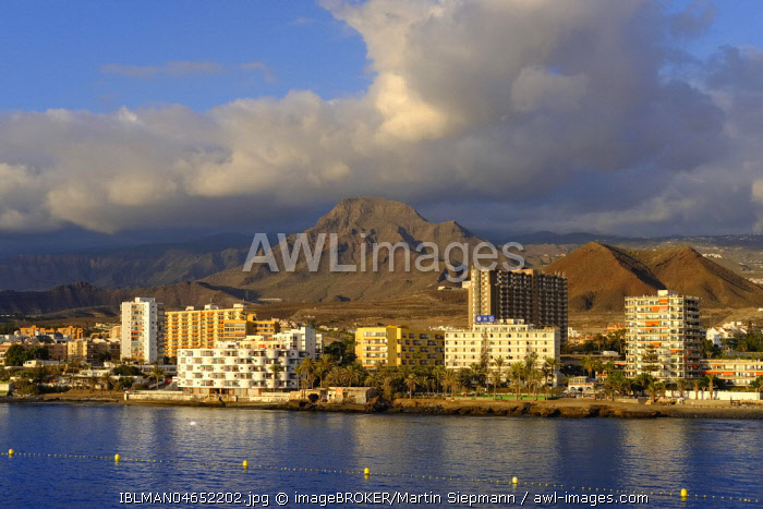 Hotels on the coast, Los Cristianos, Tenerife, Canary Islands, Spain, Europe