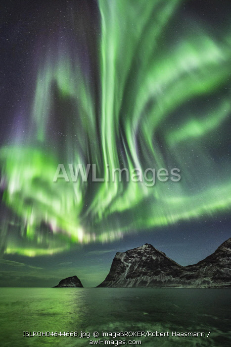 Northern Lights, Aurora Borealis, over frozen lake, Haukland, Lofoten, Norway, Europe