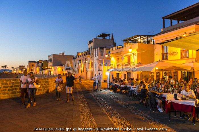 Waterfront in the coastal town of Alghero after sunset, Sardinia, Italy, Europe