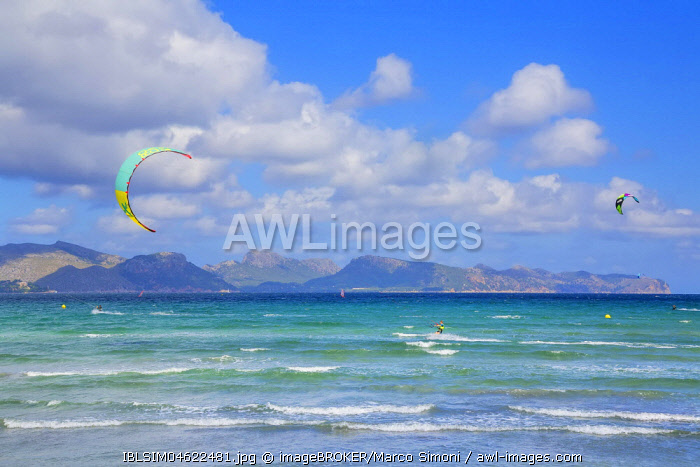 Kitesurfing on sea waves, Alcudia beach, Mallorca, Balearic Islands, Spain, Europe