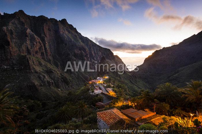 Mountain village Masca at dusk, Masca Gorge, Montana Teno Mountains, Tenerife, Canary Islands, Spain, Europe