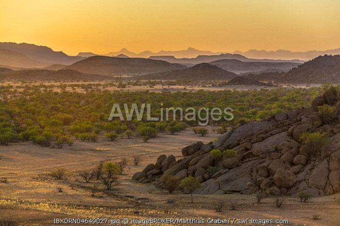 Sunset, mountainous landscape near Twyfelfontein, Kunene region, Namibia, Africa