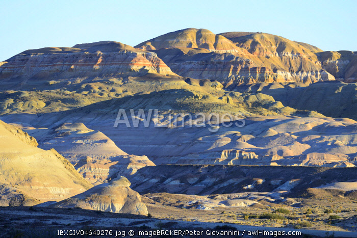 Colourful desert landscape in the Moon Valley, Bosque Petrificado Jose Ormachea, Sarmiento, Chubut, Argentina, South America