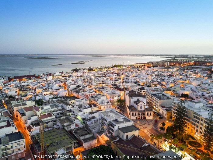 Overview Olhao da Restauracao, evening twilight, Algarve, Portugal, Europe