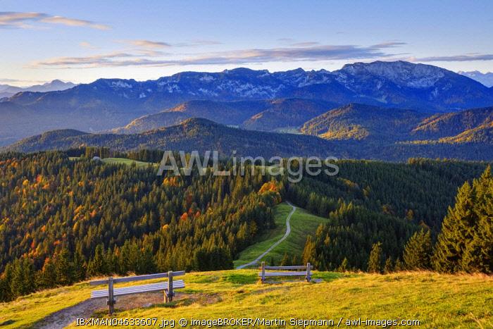 Brauneck and Benediktenwand, view from the Zwiesel near Wackersberg, Isarwinkel, Upper Bavaria, Bavaria, Germany, Europe