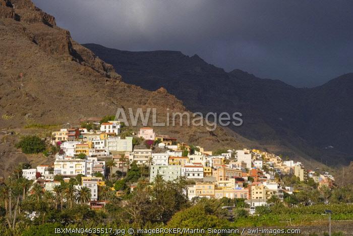 View of La Calera, Valle Gran Rey, La Gomera, Canary Islands, Spain, Europe