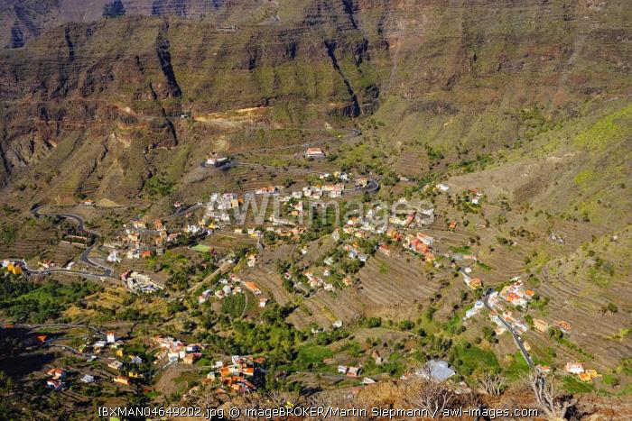 Mountain villages of Vizcaina, Retamal and Lomo del Balo, Valle Gran Rey, La Gomera, Canary Islands, Spain, Europe