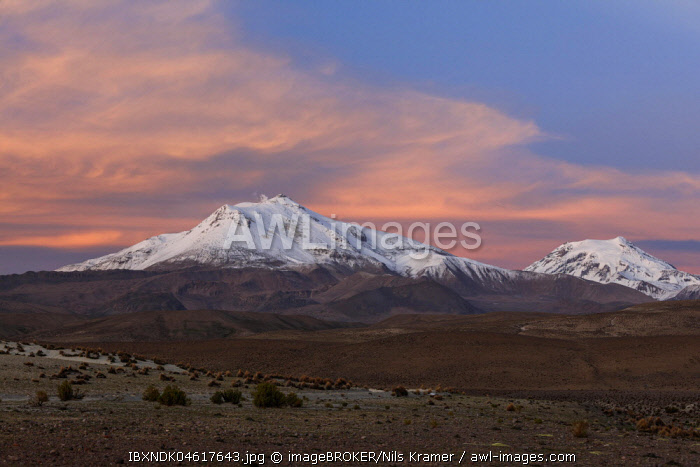 Volcano Parinacota with snow in the evening light, Putre, Region de Arica y Parinacota, Chile, South America