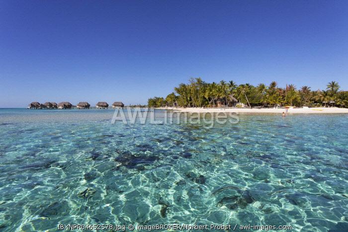 Bungalows, water bungalows in lagoon, Tikehau Pearl Beach Resort, Tikehau Atoll, Tuamotu Archipelago, Society Islands, Windward Islands, French Polynesia, Oceania