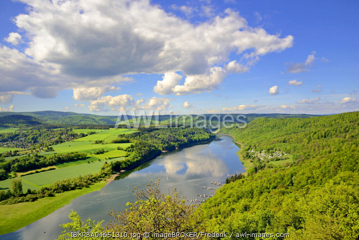 View of the Lake Edersee, Kahle Hardt Nature Reserve, Hesse, Germany, Europe
