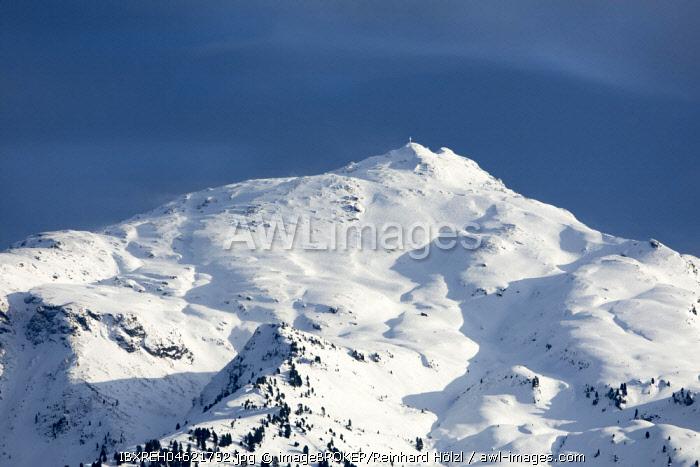 Snow-capped peak of the Gilfert in winter, Tux Alps, Tyrol, Austria, Europe