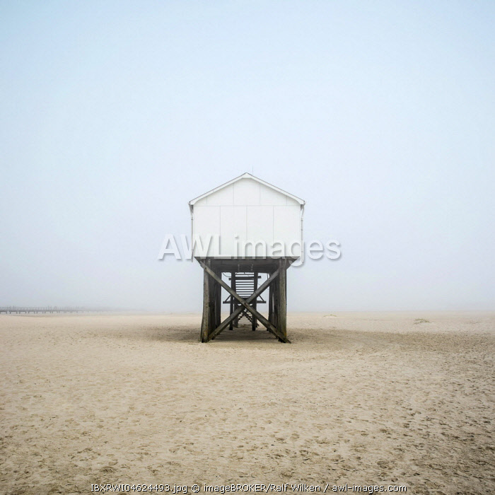 Pile dwelling on the beach, Sankt Peter-Ording, Nordfriesland, Schleswig-Holstein, Germany, Europe