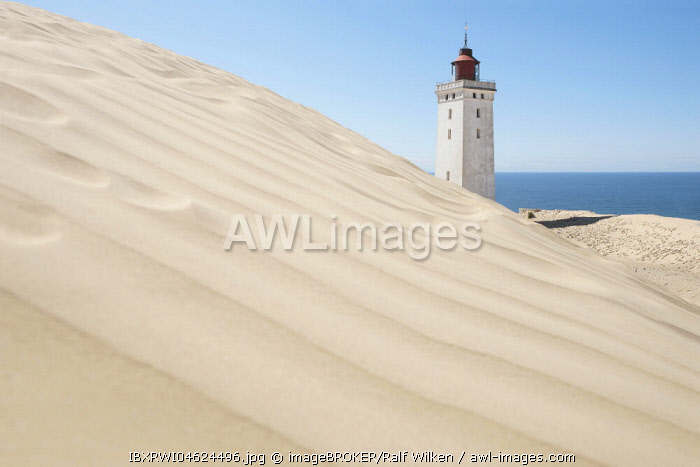 Lighthouse behind sand dune, Rubjerg Knude, Denmark, Europe