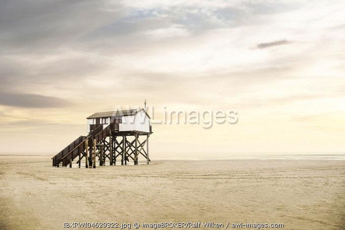 Pile dwelling on the beach of Sankt Peter-Ording, Böhler Strand, Sankt Peter-Ording, North Frisia, Schleswig-Holstein, Germany, Europe