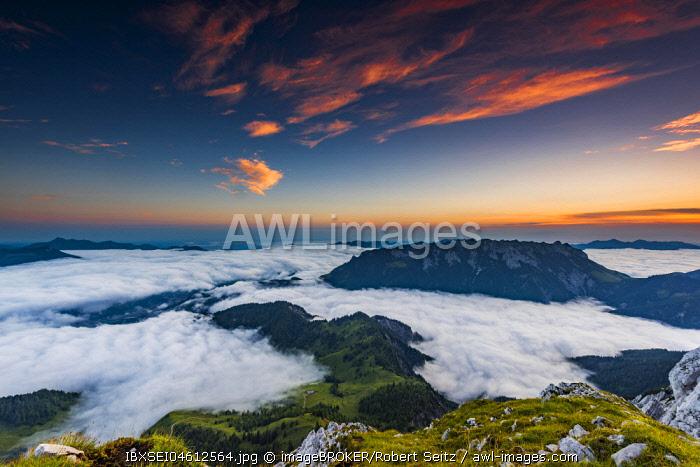 Mountain peak with sea of fog at sunrise, Wilder Kaiser, Scheffau, Tyrol, Austria, Europe