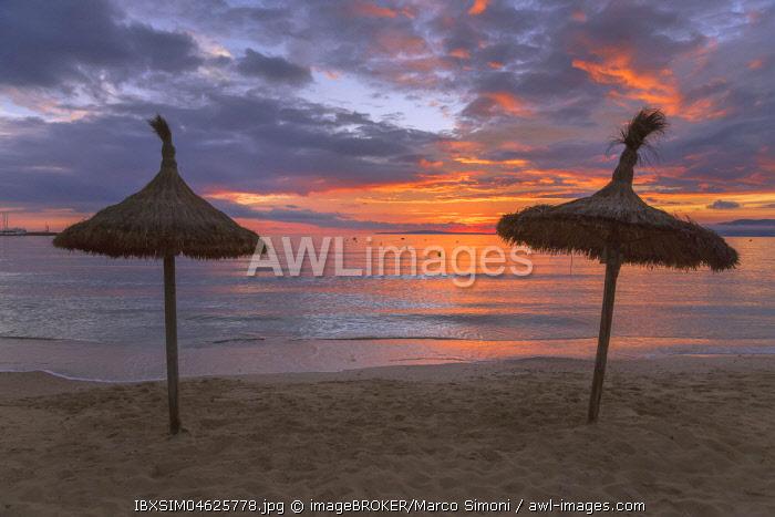 Thatched sun shade umbrellas at s'Arenal beach, Palma de Mallorca, Mallorca, Balearic Islands, Spain, Europe