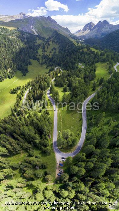 Albulapass, Aerial photo, Graubunden, Switzerland, Europe