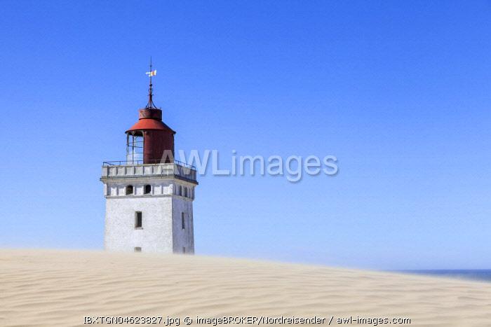 Old lighthouse Rubjerg Knude Fyr on the wandering dune Rubjerg Knude, Lakken, Jutland, Denmark, Europe