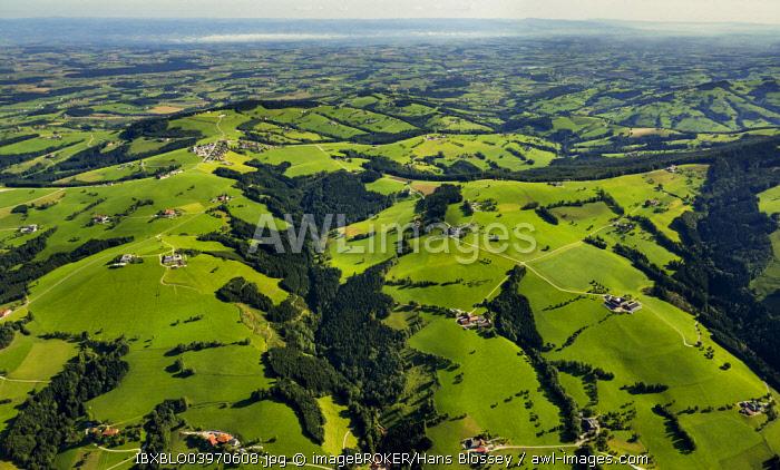 Aerial view, Alpine foothills with meadows, Sankt Ulrich bei Steyr, Upper Austria, Austria, Europe