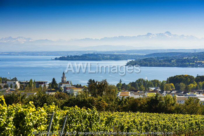 View of Lake Constance, in the back the Swiss Alps with Santis, Überlingen, Baden-Wurttemberg, Germany, Europe