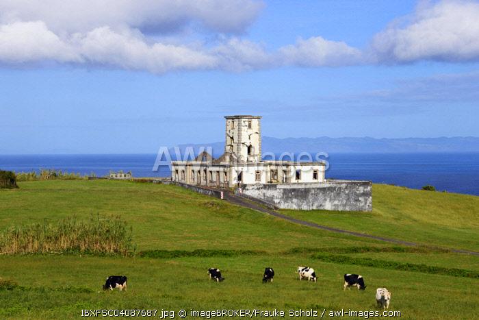 Ruins of the Farol da Ribeirinha or Ribeirinha Lighthouse, Ribeirinha, Faial, Azores, Portugal, Europe