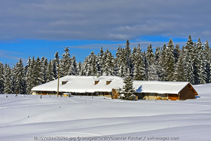 Snowed in farm, Saint-Cergue, Swiss Jura, Canton of Vaud, Switzerland, Europe